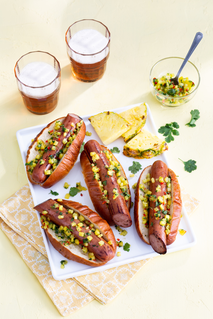 Grilled Turkey Sausage with Pineapple Relish