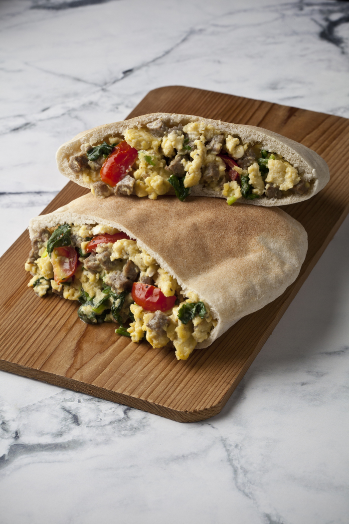 Turkey Sausage Pita with Feta and Scrambled Eggs