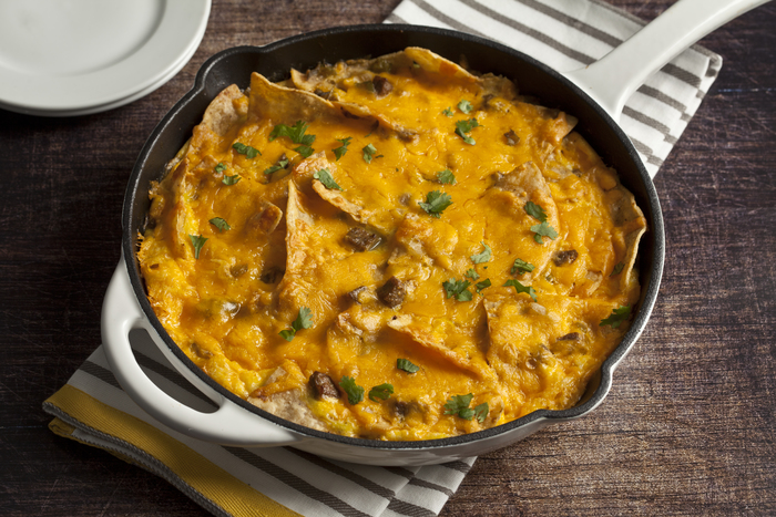 Mexican Chilaquiles with Turkey Sausage