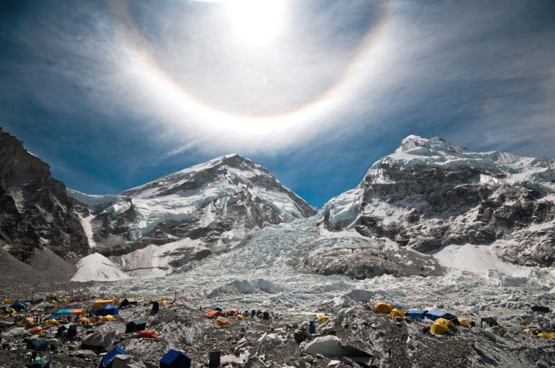 7-25 Everest Expedition Pictures - 22 degree halo-22 degree halo over EBC