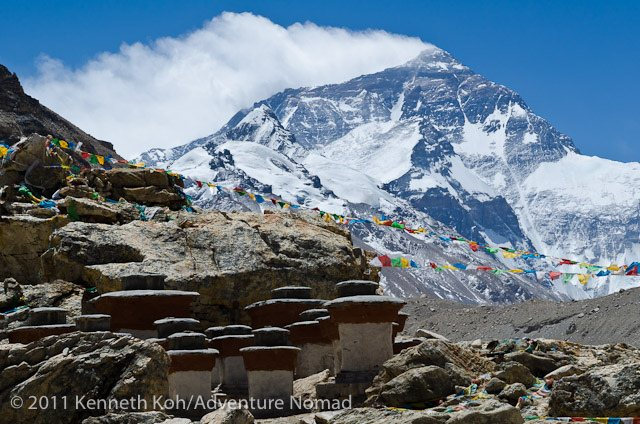 9-25 Everest Expedition Pictures - Rombuk Monastery-Everest from Rombuk Monastery