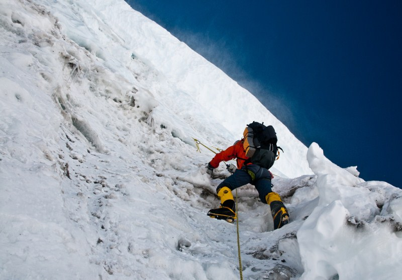 22-25 Everest Expedition Pictures -Vertical-At the Bergshrund at the start of the Lhotse face