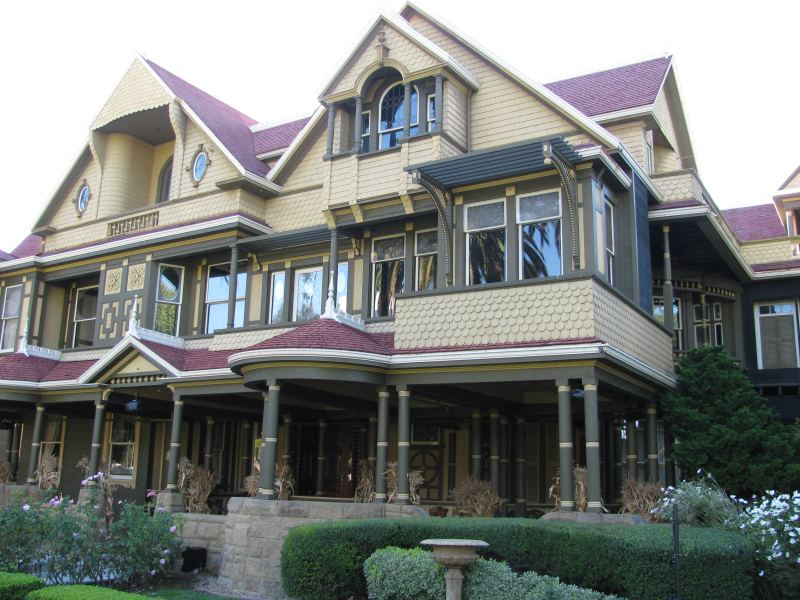 In some pictures of the Winchester Mystery House it's easy to see the extra rooms created to confuse the spirits within.