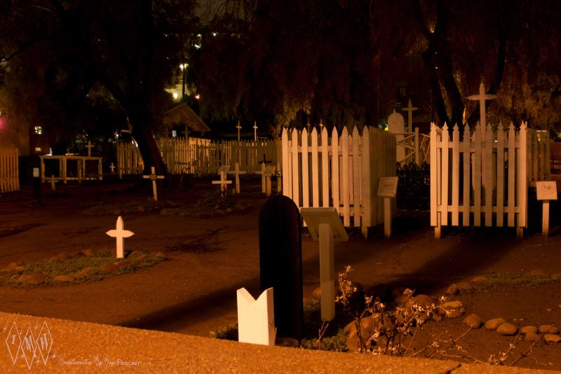 After night falls at Campo Santo Cemetery in San Diego