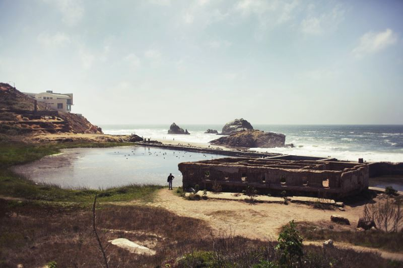 Haunted ruins of Sutro Baths in San Francisco