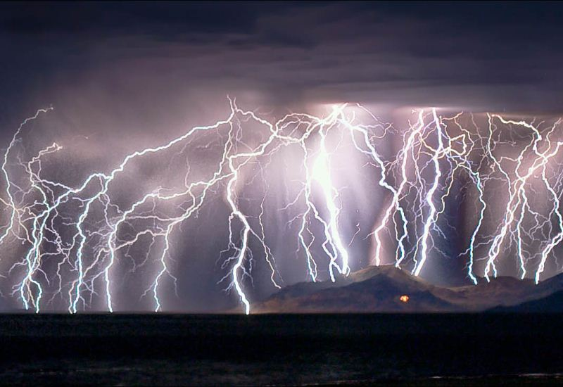Lightning over the haunted campgrounds of Great Salt Lake in Utah