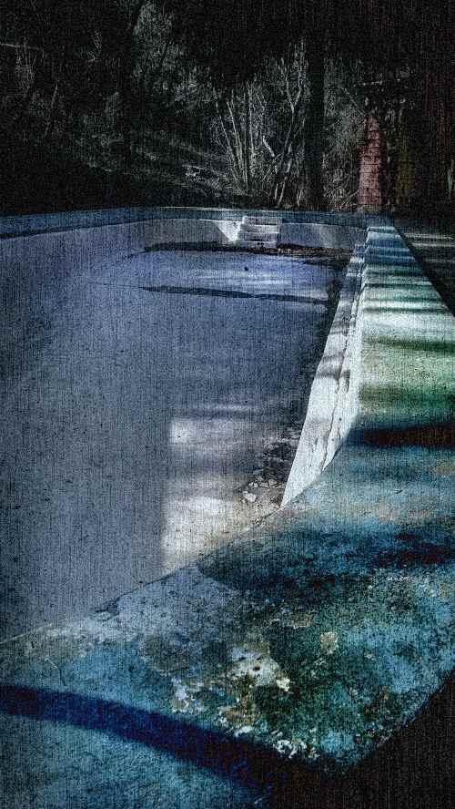 Drained pool at the haunted nunnery retreat in Logan Utah