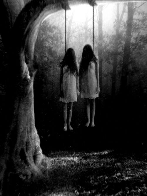 Children, possibly victims of the cult, sometimes appear swinging from trees...