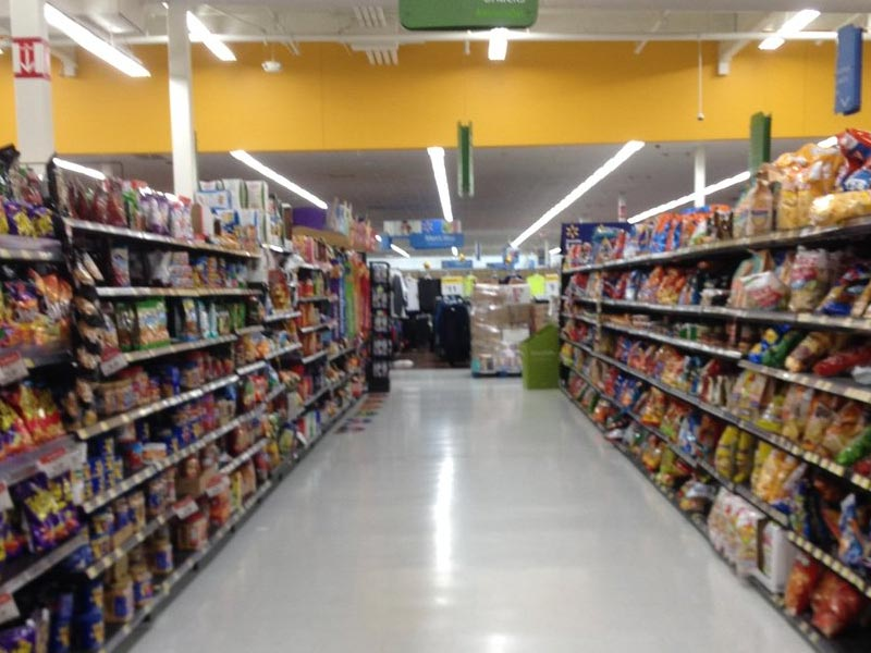The chips and snacks aisle at the Oxnard Walmart.
