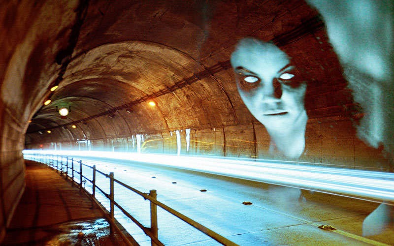 The fluorescent looking ghost in the tunnel seems angry, but not at you. Have you heard the haunted stories about her?