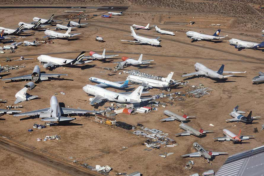 This airplane boneyard is mostly filled with old commercial jets... and spirits.
