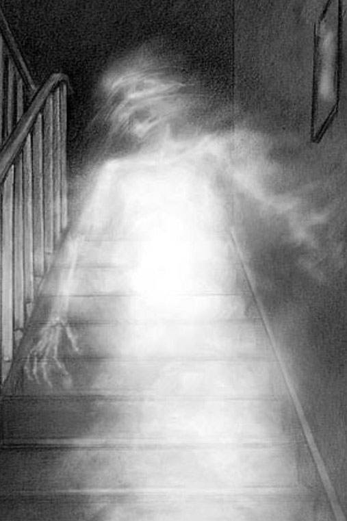 A skeletal spirit seems to descend a flight of stairs.
