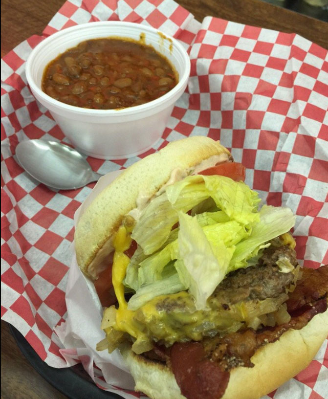 Delicious beans and a stacked-high burger at Woolworth's in Bakersfield.