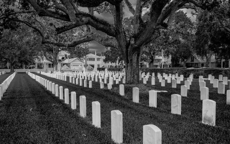 The St. Augustine National cemetery in Florida is said to be haunted.