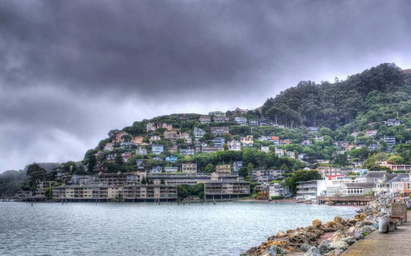 Sausalito, CA is a town right on the water, you can see cute homes build on the mountain and you can see ghosts, too.