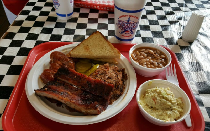 Delicious looking plate of BBQ food from Tyler's - one of the best restaurants in Texas.