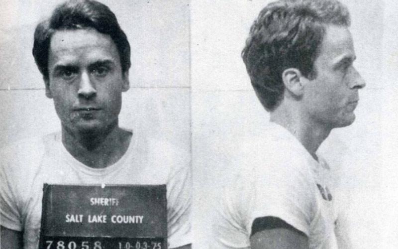 Bundy poses for his mugshot in Salt Lake.