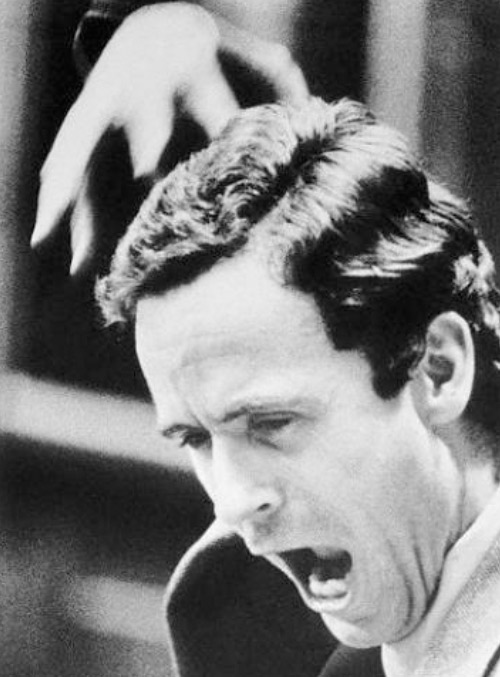 Ted Bundy acting out in court.