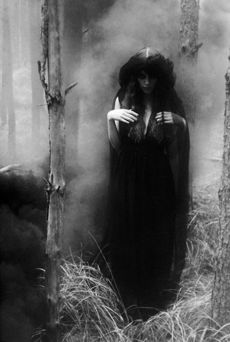 A blood thirsty witch in a black cloak peers from behind trees.