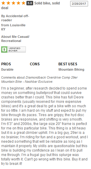Diamondback Overdrive Comp 29er User Reviews and Ratings 1