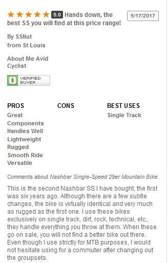 Nashbar Single Speed 29er Use Reviews and Ratings 2