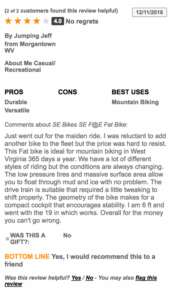 SE F@E mountain bike user review and ratings 2