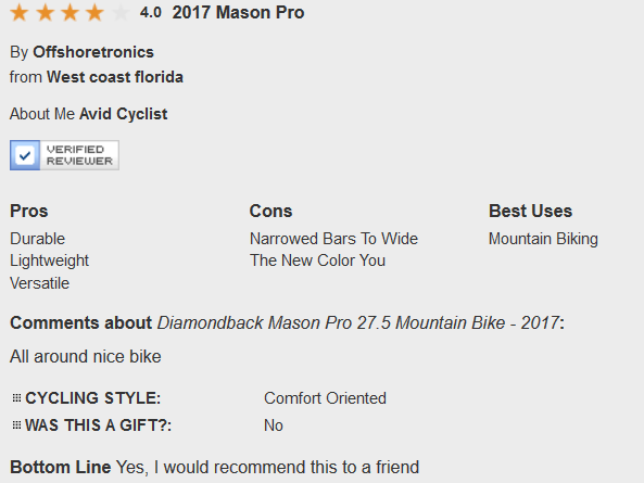 Diamondback Mason Pro User Reviews and Ratings 1