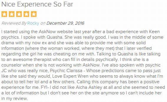 Reviews left by customers of AskNow