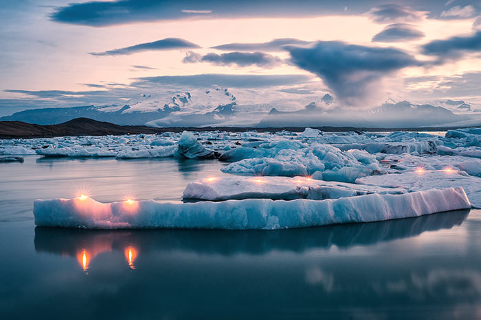 Icebergs in Lagoon - Backroads Iceland Multi-Adventure Tour