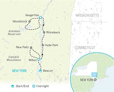 Hudson River Valley Bike Tour map