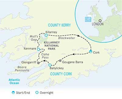 Ireland Multi-Adventure Tour Map