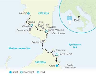 Sardinia & Corsica Tour Map