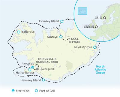 Iceland Ocean Cruise Map