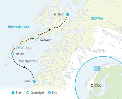 Norway's Lofoten Islands Walking & Hiking Tour map