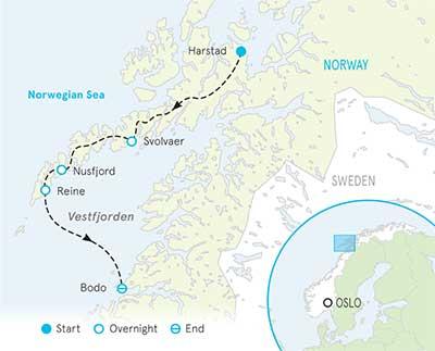 Norway's Lofoten Islands Tour map