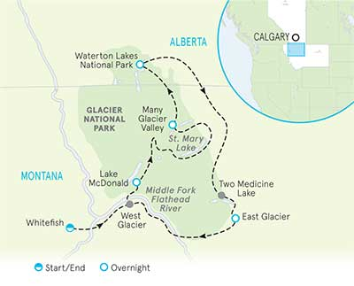 Glacier & Waterton Lakes National Parks Map