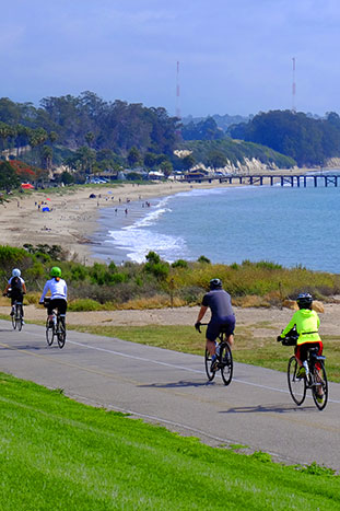 Family biking in Santa Barbara, California