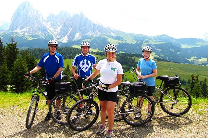 Dolomites family biking