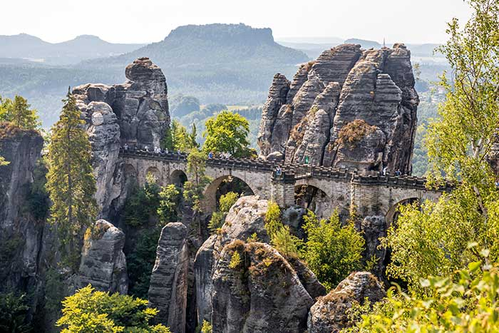 The Bastei Bridge above the Elbe river in Germany