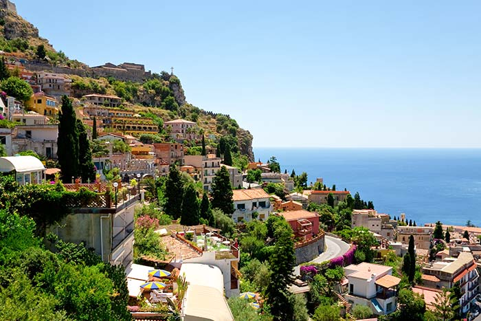 Taormina cityscape from Castelmola village in Sicily