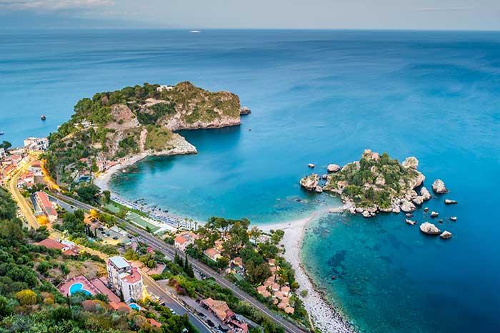 Taormina coastline landscape, Sicily