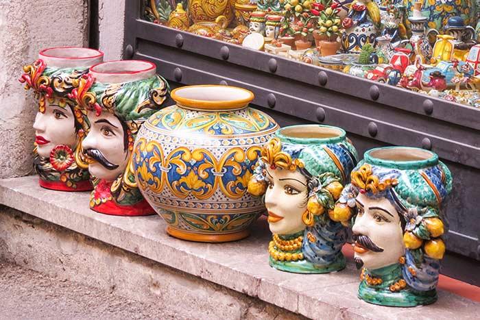 Ceramics in a Sicily Market, Italy