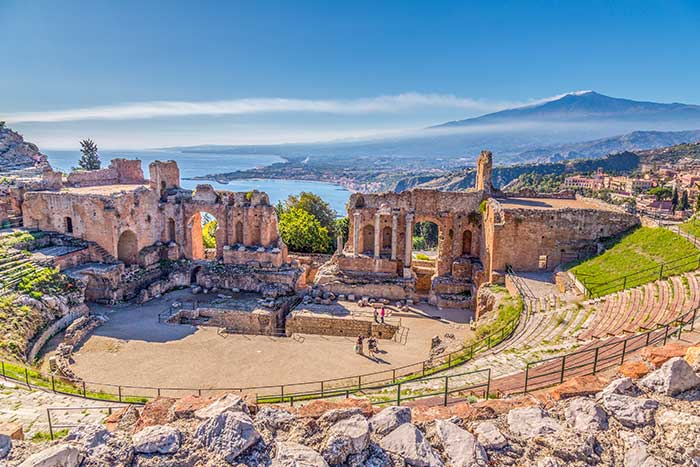 Ruins of the Greek Theater in Sicily, Italy