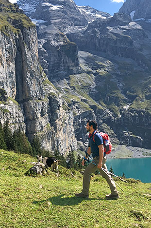 Hiking above Oeschinen Lake, Switzerland