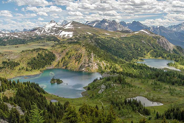 Aerial view of a Canadian Rockies lake