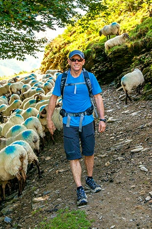 Backroads Founder Tom Hale hiking with sheep