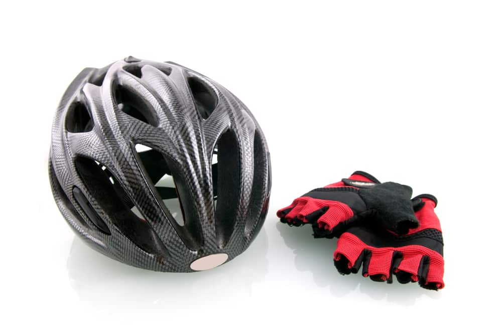 bike helmet & cycling gloves