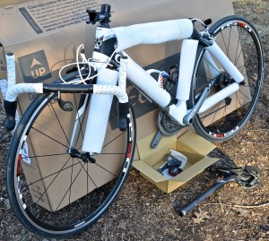 With the pedals, handlebars and seat post removed the bike is nearly ready to be boxed up.
