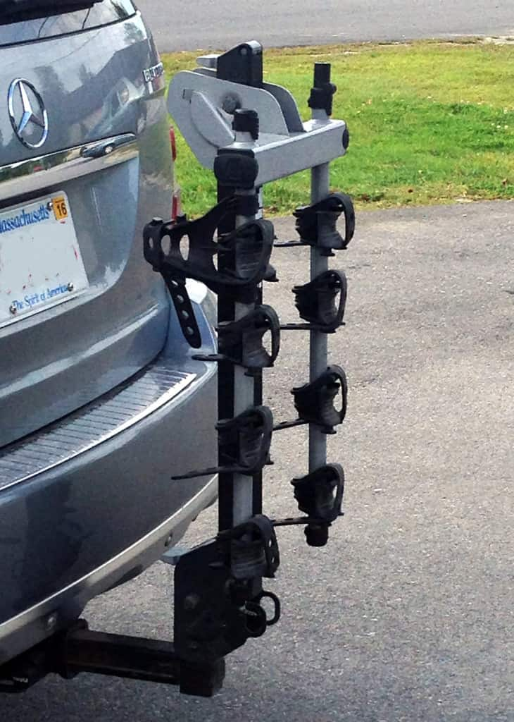 folded hitch mount bike rack