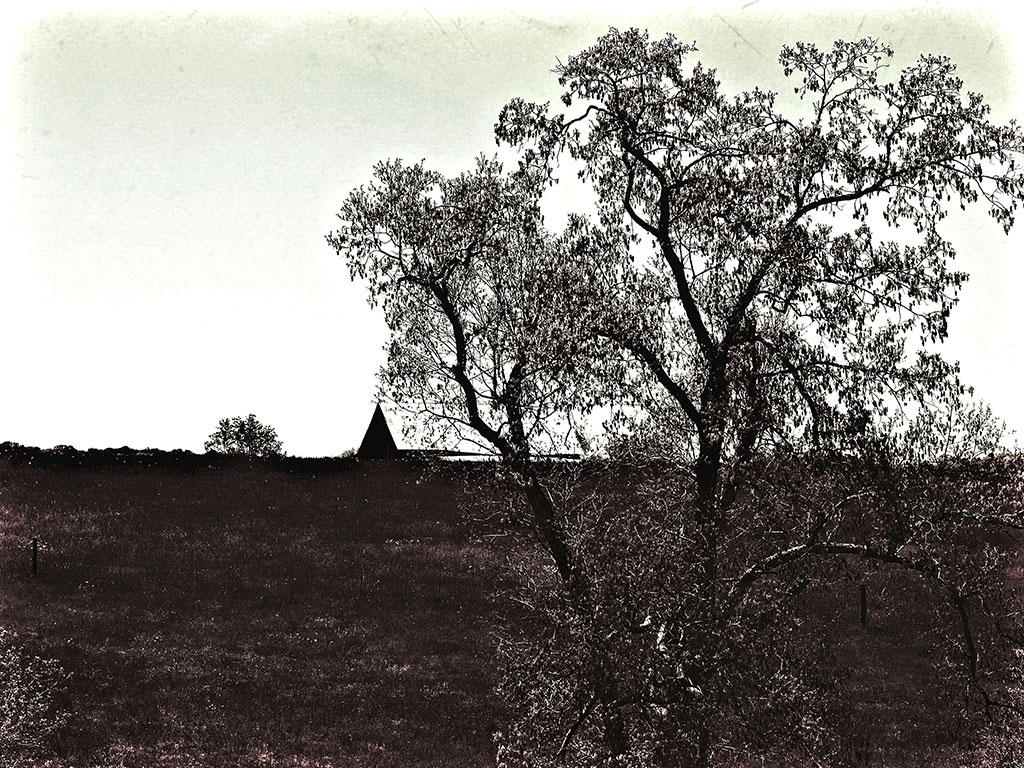 Black and white farmhouse art print featuring a barn roof peeking over a hill and the top of a large tree